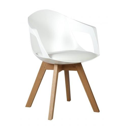 Fotel HOLEY ARM biały z białą poduszką - podstawa dębowa