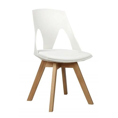 Krzesło HOLEY białe z białą poduszką - podstawa dębowa