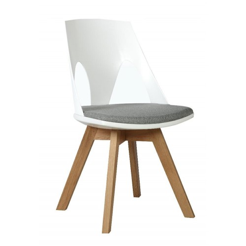 Krzesło HOLEY biały z szarą poduszką - podstawa dębowa