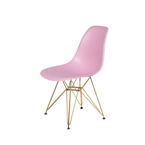Krzesło DSR GOLD pastelowy róż.07 - podstawa metalowa złota