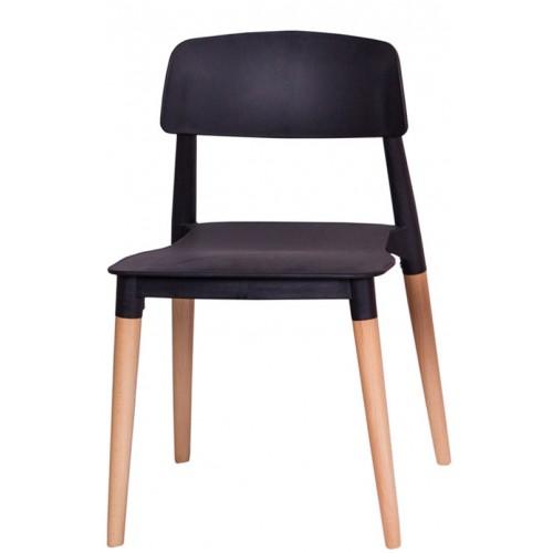 Krzesło ECCO PREMIUM czarne - polipropylen, buk