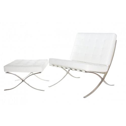 Fotel z podnóżkiem BA1 skóra naturalna biała