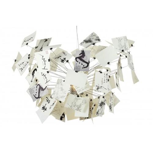 Lampa wisząca  ZET 120 - stal węglowa, papier, szkło
