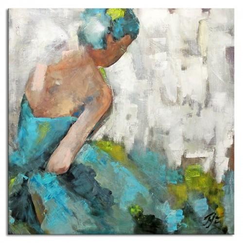 Obraz Baletnica Glamour Turkus 90x90cm