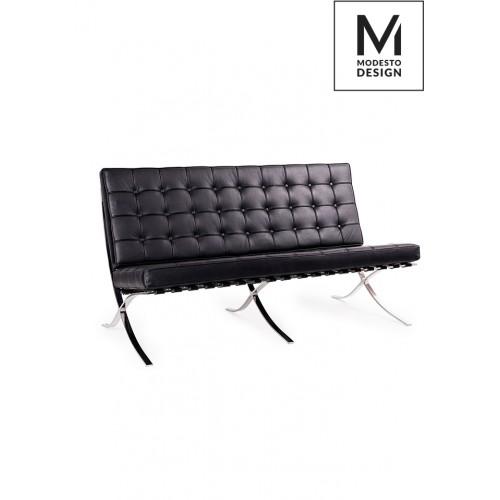 MODESTO sofa BARCELON czarna - ekoskóra, stal polerowana