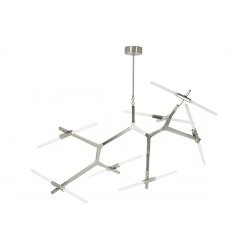Lampa wisząca CANDELABR PREMIUM 14  srebrna - aluminium, szkło