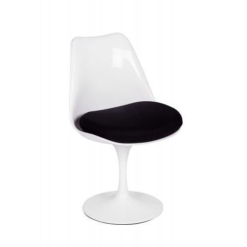 Krzesło TULIP białe z czarną poduszką - ABS, podstawa metalowa