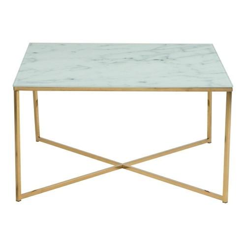 Stolik kawowy Alisma kwadrat biały szkło