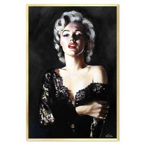 Obraz olejny Marilyn Monroe w czarnej koronkowej sukience