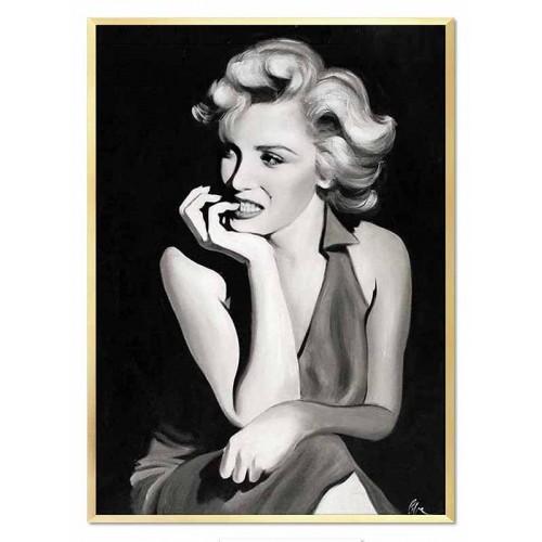 Obraz olejny Marilyn Monroe portret czarno-biały