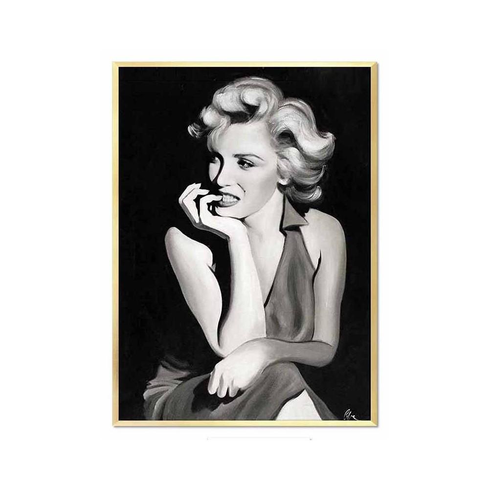 2477ce0b525970 obraz olejny, Marilyn Monroe, portret czarno-biały złota rama, obraz ...