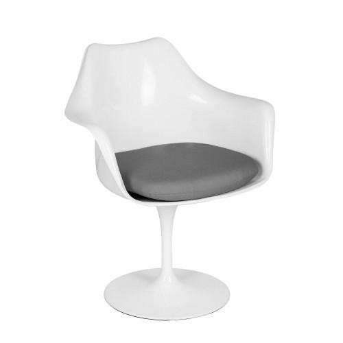 Fotel TULIP biały z szarą poduszką - ABS, podstawa metalowa