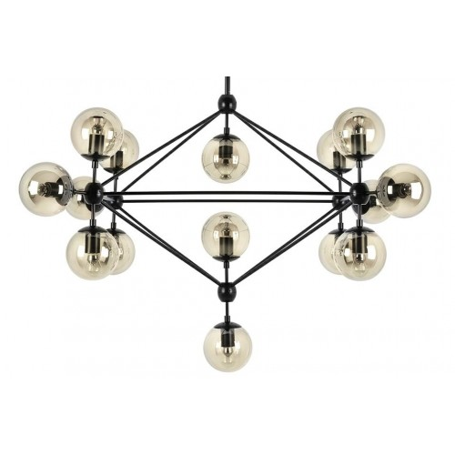 Lampa wisząca PLANETARIO 15 czarna - klosze bursztynowe
