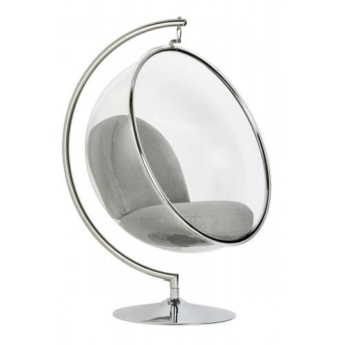 Fotel BUBBLE STAND poduszka jasnoszara - podstawa chrom, korpus akryl, poduszka wełna