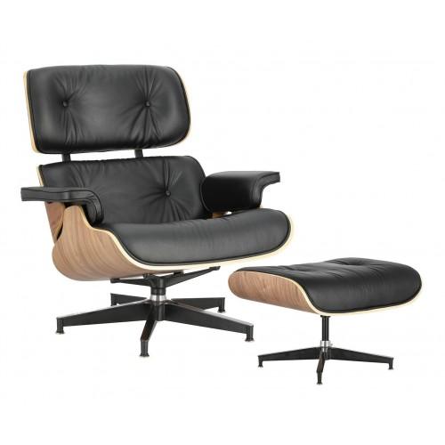 Fotel Vip z podnóżkiem czarny/walnut /standard base