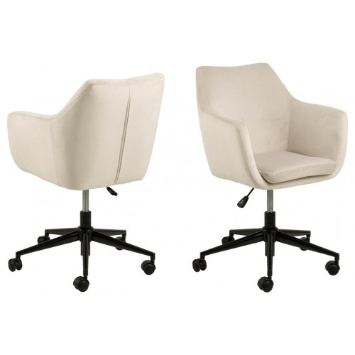 ACTONA fotel biurowy NORA beżowy - welur, metal