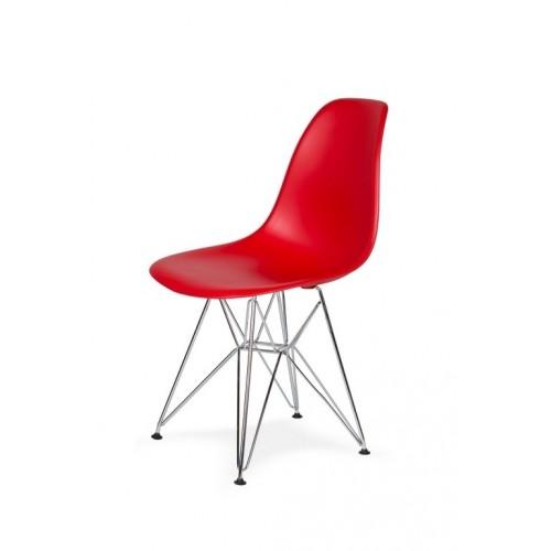 Krzesło DSR SILVER krwista czerwień.06 - podstawa metalowa chromowana