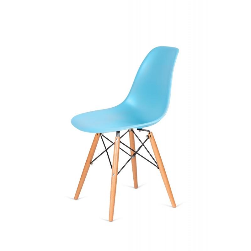 Krzesło DSW WOOD oceaniczny niebieski .25 - polipropylen, podstawa bukowa