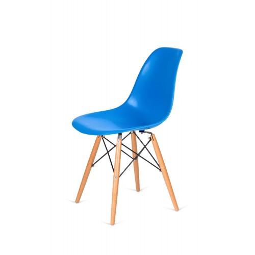 Krzesło DSW WOOD niebieski.11 - polipropylen, podstawa bukowa