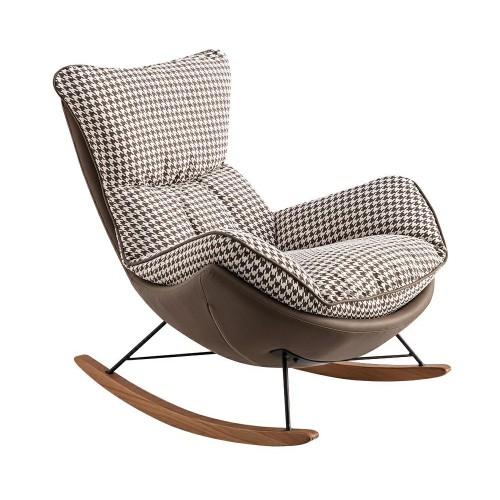 Fotel bujany OTILIA brązowy - drewniane płozy, ekoskóra