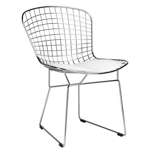Krzesło NET SOFT chrom - biała poduszka, metal