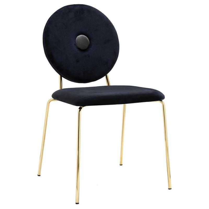 Krzesło BAROCCO czarne, szary guzik  - welur, podstawa złota