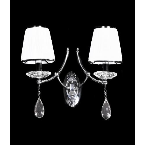 LAMPA ŚCIENNA KINKIET KRYSZTAŁOWY CHROMOWANY DOMINNI W2