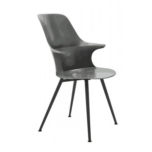 Krzesło BRAZO HIGH czarne  - polipropylen, metal