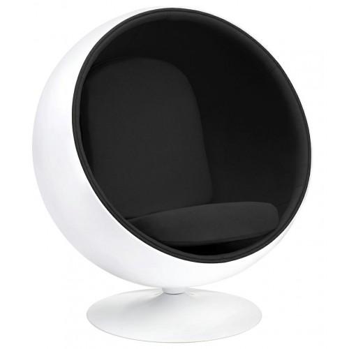 Fotel BALL biało-czarny - włókno szklane, wełna
