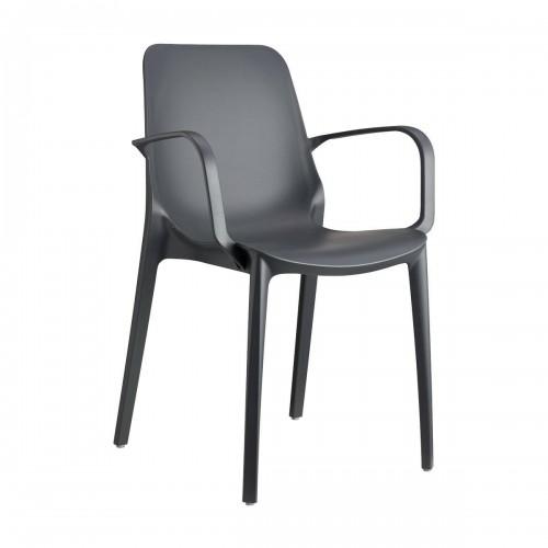 Krzesło Ginevra z podłokietnikami antrac ytowe