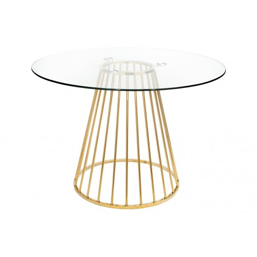 Stół GLAM GLASS 110 - szkło, złota podstawa