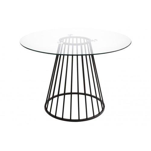 Stół GLAM GLASS 110 - szkło, czarna podstawa