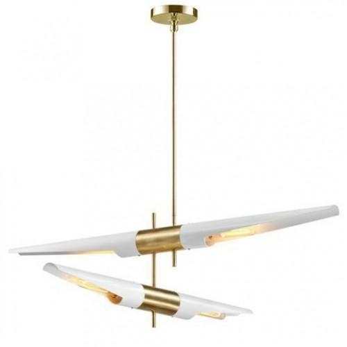 Lampa wisząca APOLLO 2 biała - szczotkowane złoto