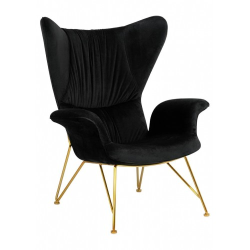 Fotel SHRIMP VELVET czarny - podstawa złota