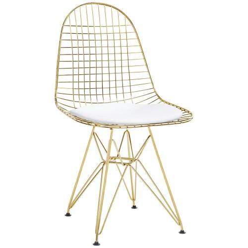 Krzesło DSR NET GOLD złote - biała poduszka, metal
