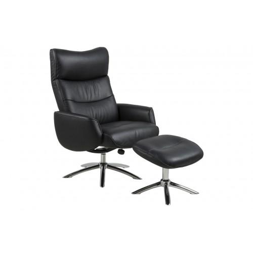 Fotel z podnóżkiem Westfield -A1 czarna skóra