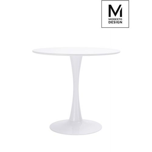 MODESTO stół TULIP FI 80 biały - MDF, podstawa metalowa