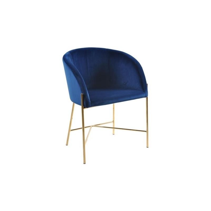 Fotel Nely niebieski/złota podstawa