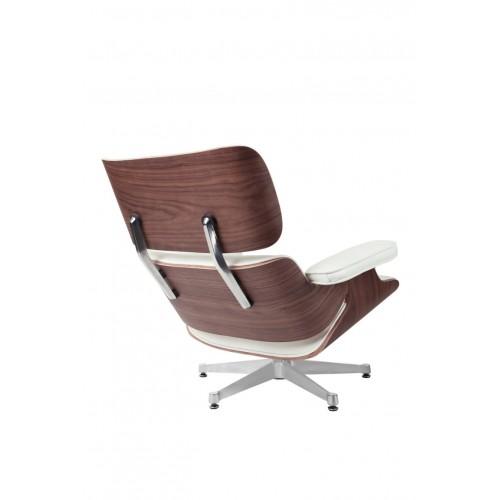 Fotel Vip biały/walnut/srebrna baza TP
