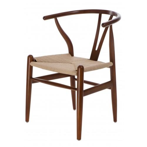 Krzesło Wicker Naturalne brązowe cieme i nspirowane Wishbone
