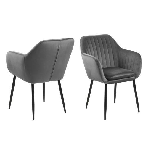 Krzesło Emilian Velvet dark grey/black