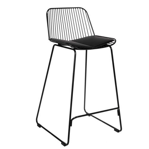 Krzesło barowe Dilli Low czarne z czarną poduszką