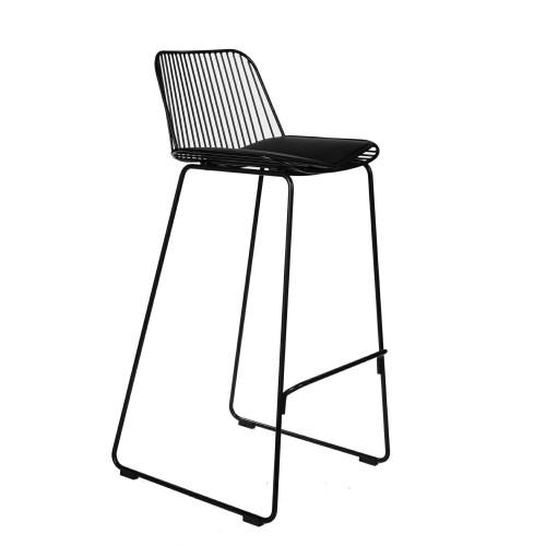 Krzesło barowe Dilli High czarne z czarną poduszką