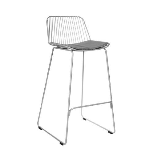 Krzesło barowe Dilli Low szare z szarą poduszką