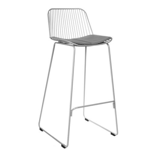 Krzesło barowe Dilli High szare z szarą poduszką