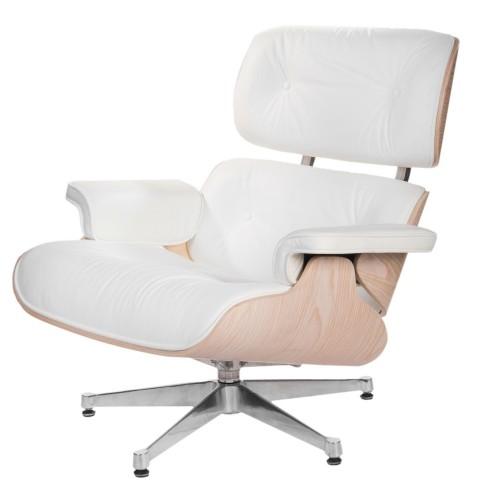 Fotel Boss biały/jasne drewno/srebrna baza