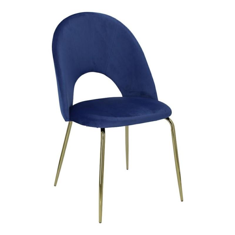 Krzesło Solar Velvet niebieskie/złote