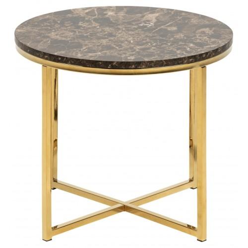 Stolik Alisma S Marble brązowy/złoty okr ągły