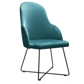 Krzesła tapicerowane na czarnych nogach